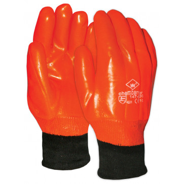 Waterdichte oranje PVC werkhandschoen met tricot manchet