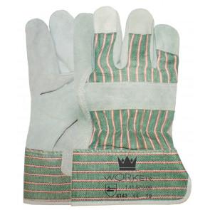 Splitleder werkhandschoen met groene kap