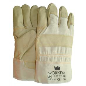 Meubellederen handschoen met palmversterking in lichte kleuren