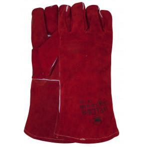 Laswerkhandschoen van rood splitleder gestikt met Kevlar garen